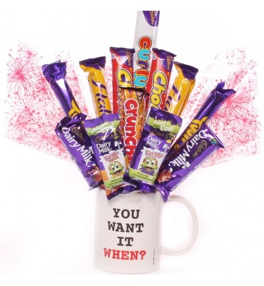 You Want It When mug with chocolate bouquet.