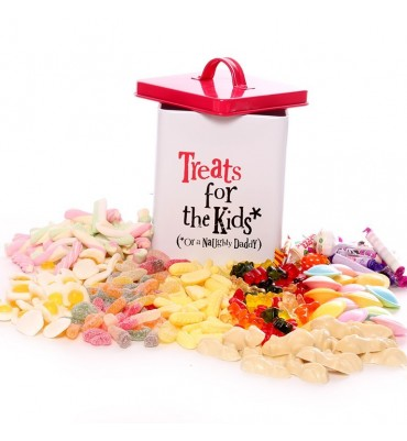 Treats For Kids Storage Tin filled With Pick and Mix Sweets.
