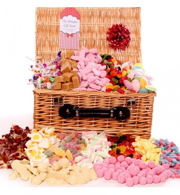Large Wicker Sweet Hamper filled with pick and mix sweets.