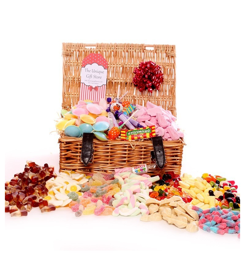 Wicker Hamper Filled With Pick and Mix - Medium