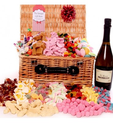 Large Wicker Sweet Hamper With Prosecco
