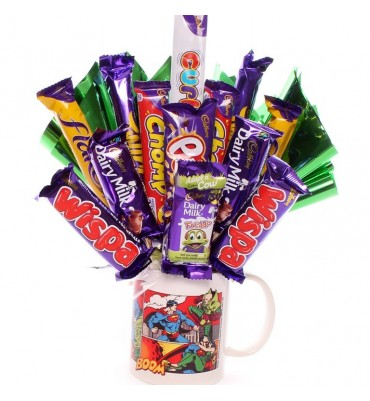 Superman Comic Book Mug with Chocolate Bouquet