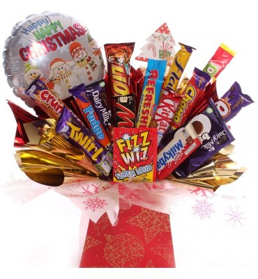 Christmas Chocolate Bar Bouquet with Balloon.