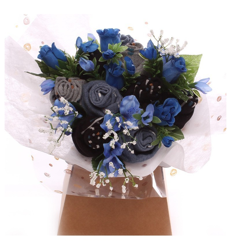 Men Socks And Silk Flowers Bouquet Sock Bouquet For Him