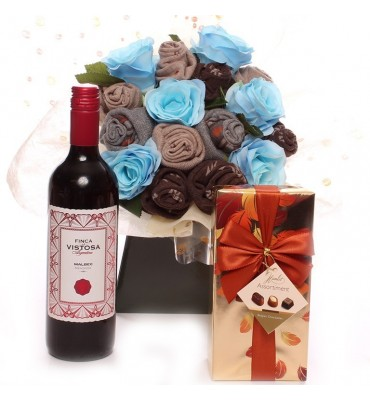 Wine and Chocolates Men's Sock Bouquet.