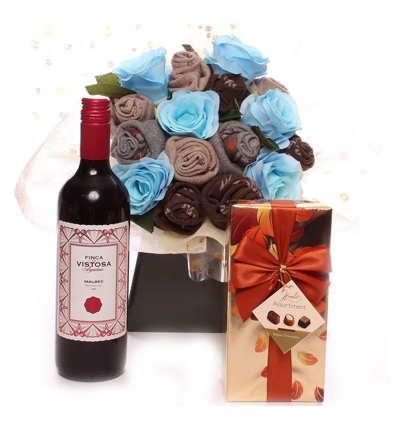 Wine and Chocolates Men's Sock Bouquet.