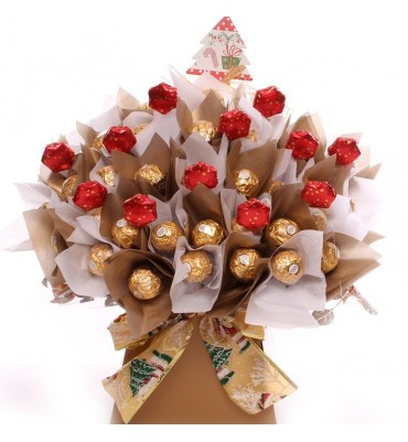 Golden Christmas Ferrero Rocher Chocolate Bouquet.