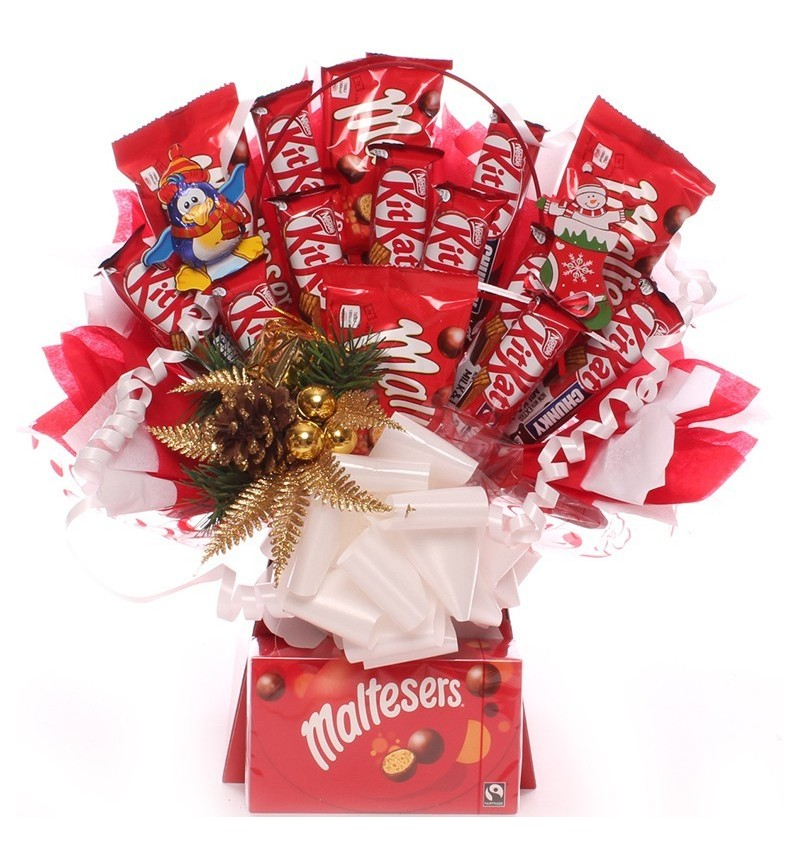 Christmas Maltesers and KitKat Chocolate Bouquet.