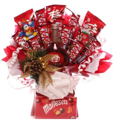 Christmas Rose Wine, KitKat Chunky and Maltesers Chocolate Bouquet