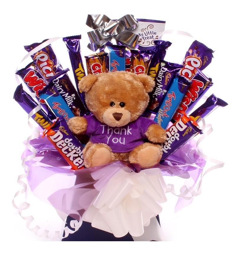 Thank you teddy with chocolate bouquet.