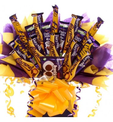 Cadbury Caramel, Flake, Twirl, Buttons and Dairy Milk Bouquet.