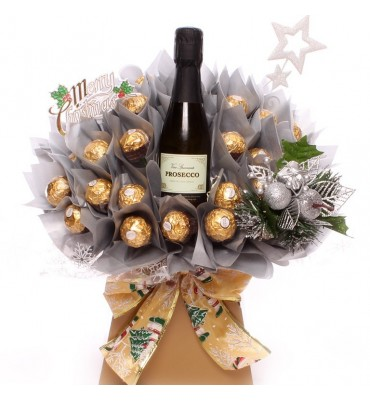 Christmas Prosecco and Ferrero Rocher Silver chocolate bouquet.