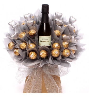 Ferrero Rocher and Prosecco with silver heart chocolate bouquet.