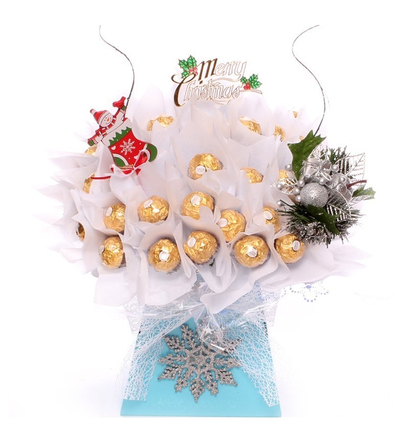 Frostie the Snowman Ferrero Rocher chocolate bouquet
