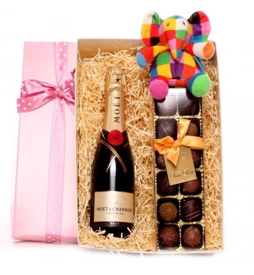 Champagne and Truffles Elmer Gift Box Girl
