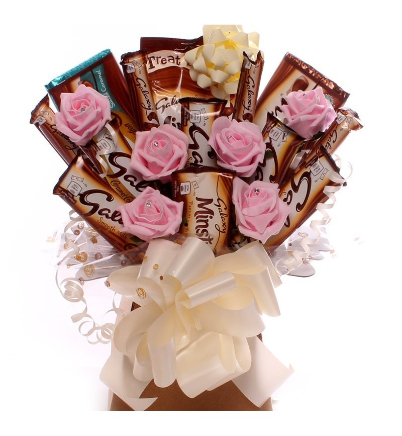 Galaxy Chocolate Bouquet with Pink Roses