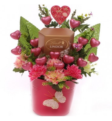 Lindor and Hearts Chocolate Gift Pot.