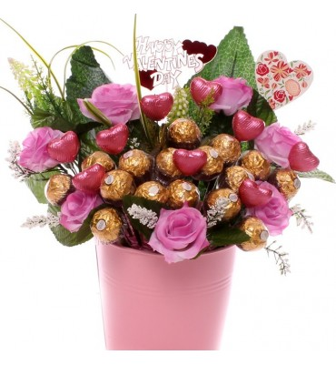 Valentine Ferrero Rocher and Pink Roses Gift Pot