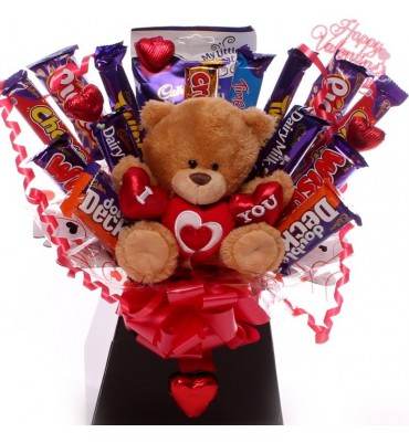 I Love You Teddy Chocolate Bouquet