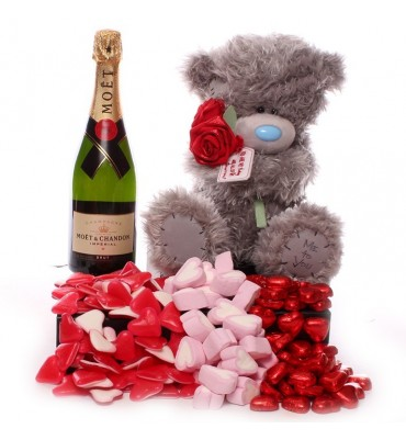 Valentine Me to You Bear, Champagne and Hearts.