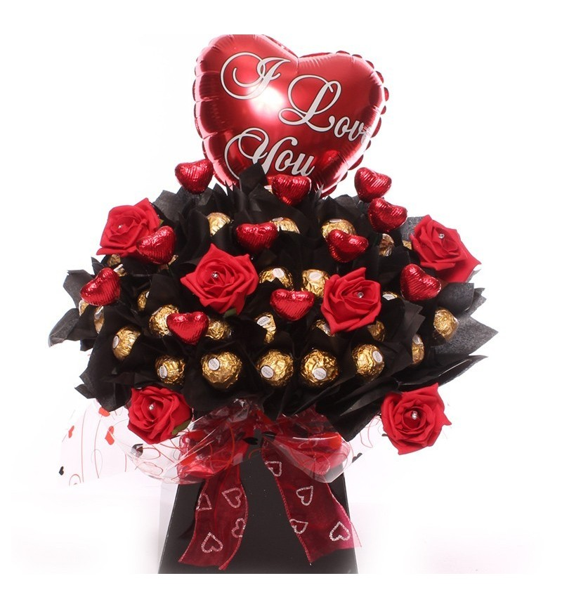 Chocolate Flowers With I Love You Balloon