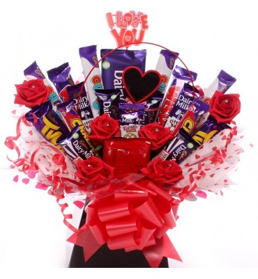 Love You chocolate bar bouquet.