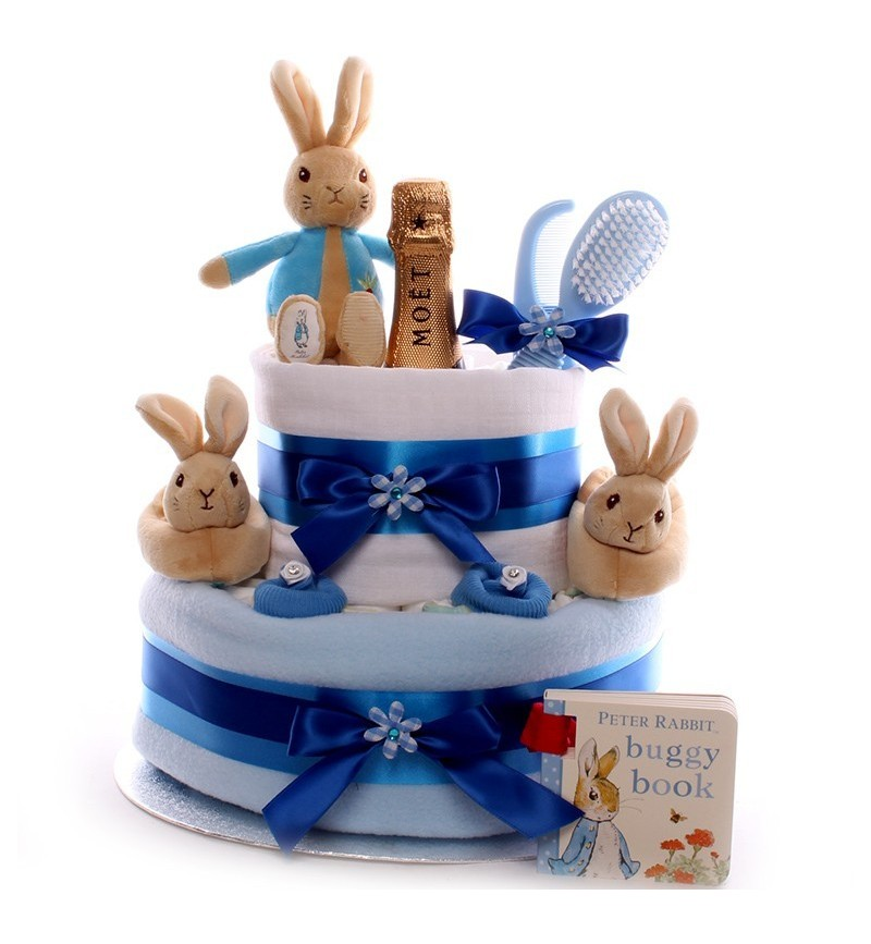 Champagne Peter Rabbit Nappy Cake.