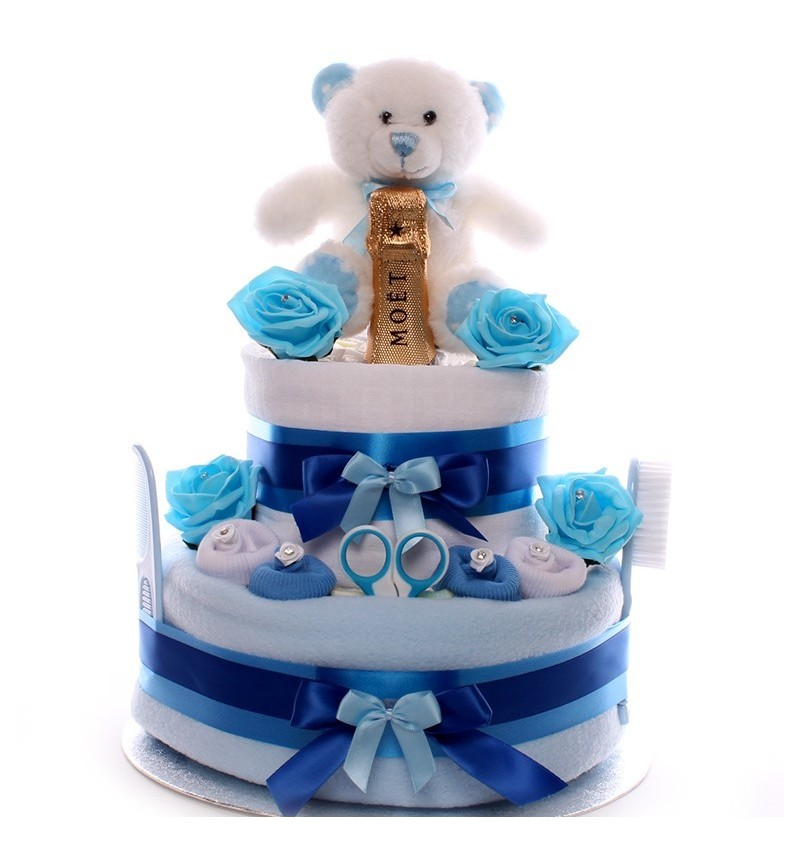 Teddy Bear Champagne Nappy Cakes