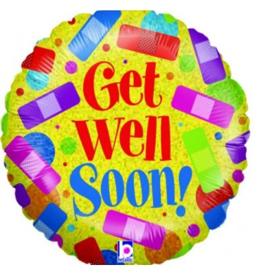 Get Well Soon Helium Foil balloon by post.