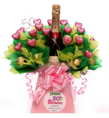50th Champagne Personalised Chocolate Bouquet.