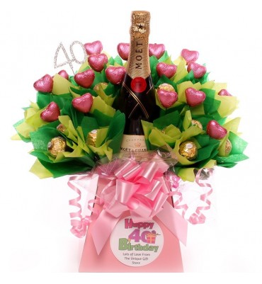 40th Champagne Personalised Chocolate Bouquet.