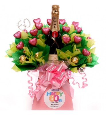 60th Birthday Champagne Personalised Chocolate Bouquet