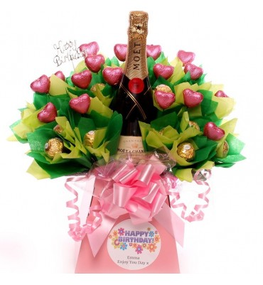 Happy Birthday Champagne Chocolate Bouquet with diamante pick.