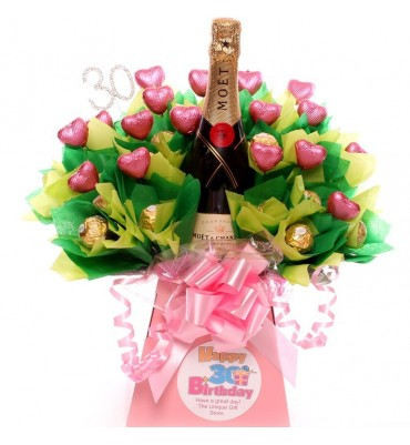 30th Birthday Champagne, Ferrero Rocher and chocolate hearts Bouquet.