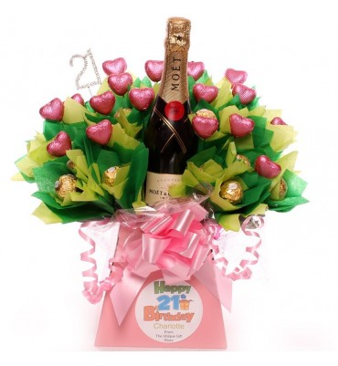 21st Birthday Champagne Personalised Chocolate Bouquet.