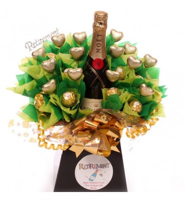 Retirement champagne chocolate bouquet.