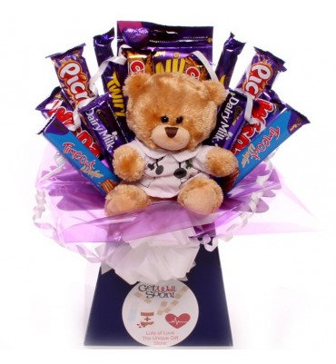 Get Well Chocolate Bouquet with Get Well Teddy.
