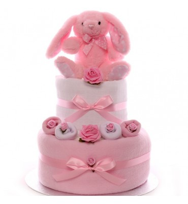 Two Tier Rabbit Nappy Cake