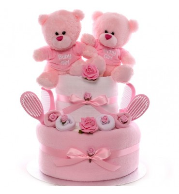 Twin Girls Nappy Cake