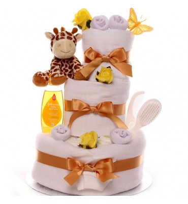 Neutral Treetops Giraffe Rattle Nappy Cake