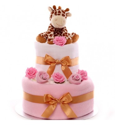 Two Tier Giraffe Nappy Cake