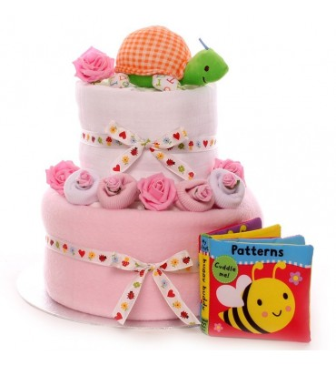 Mini Nappy Cake for a Baby Girl.