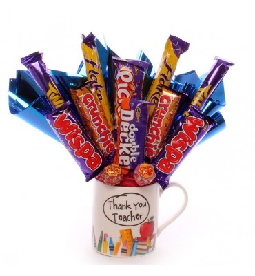 Thank you teacher mug with chocolate bouquet.