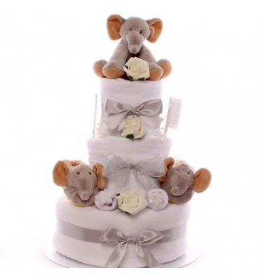 Neutral Elephant Nappy Cake.
