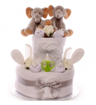 Twin Elephant Neutral Nappy Cake