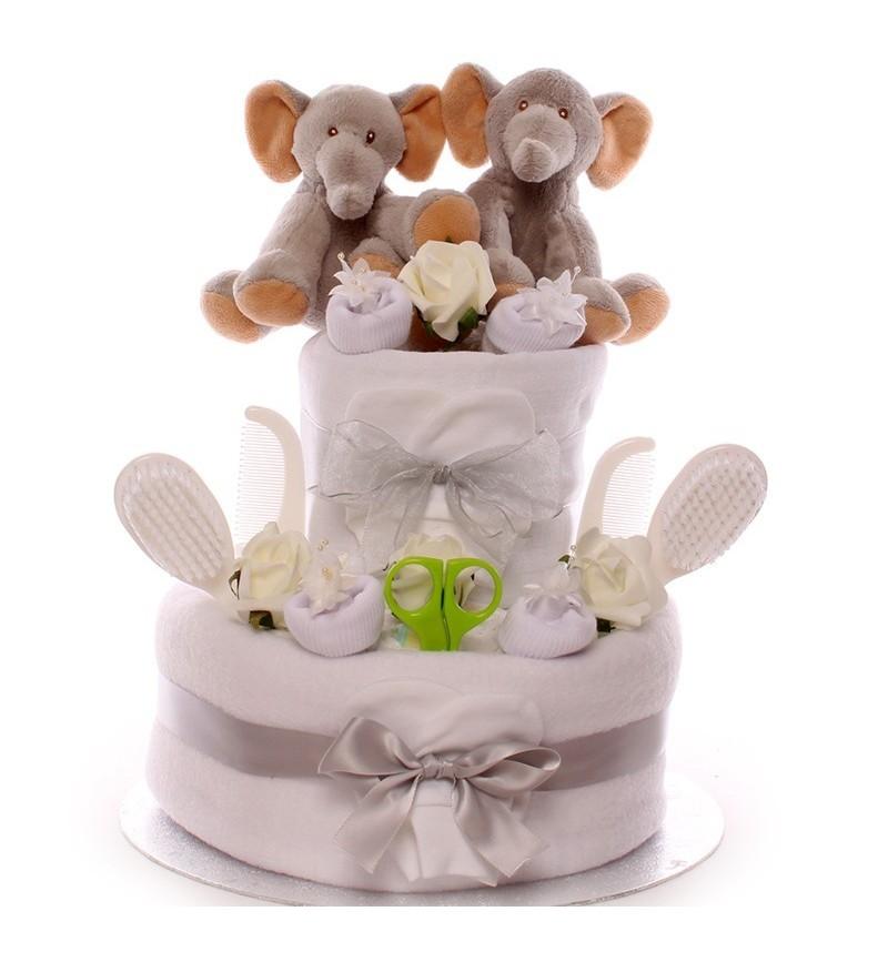 Twin Elephant Neutral Nappy Cake