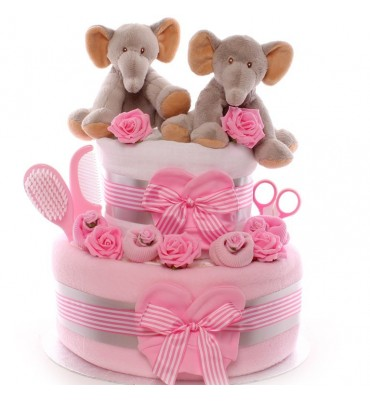 Twins Elephant Nappy Cake - Girls
