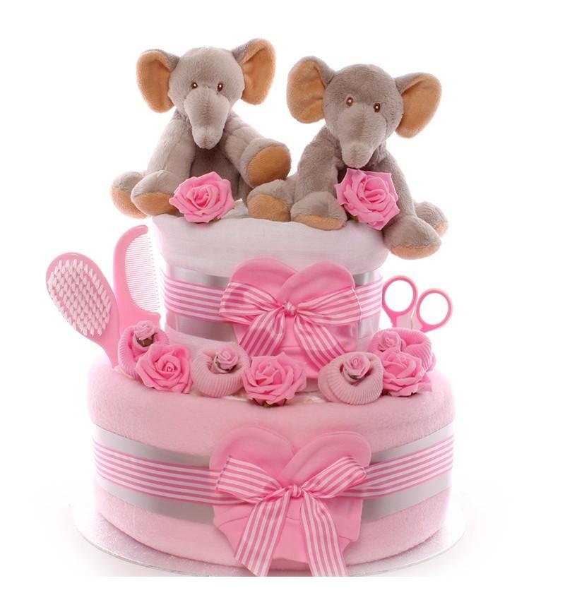 Astonishing Luxury Twins Nappy Cake Elephant Design Funny Birthday Cards Online Necthendildamsfinfo