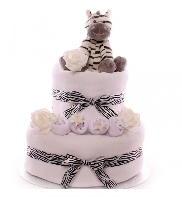 2 Tier Nappy Cake for a Baby Boy or Baby Girl.