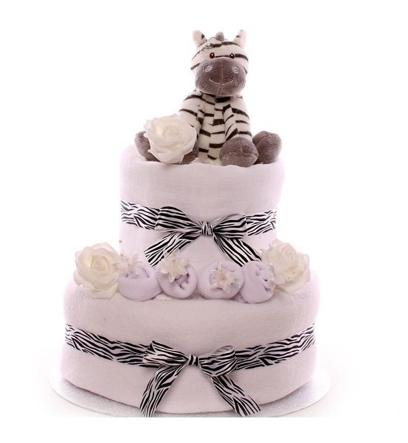 Unisex Baby Neutral Gift Raff Mini Nappy Cake Maternity Baby Shower Hamper